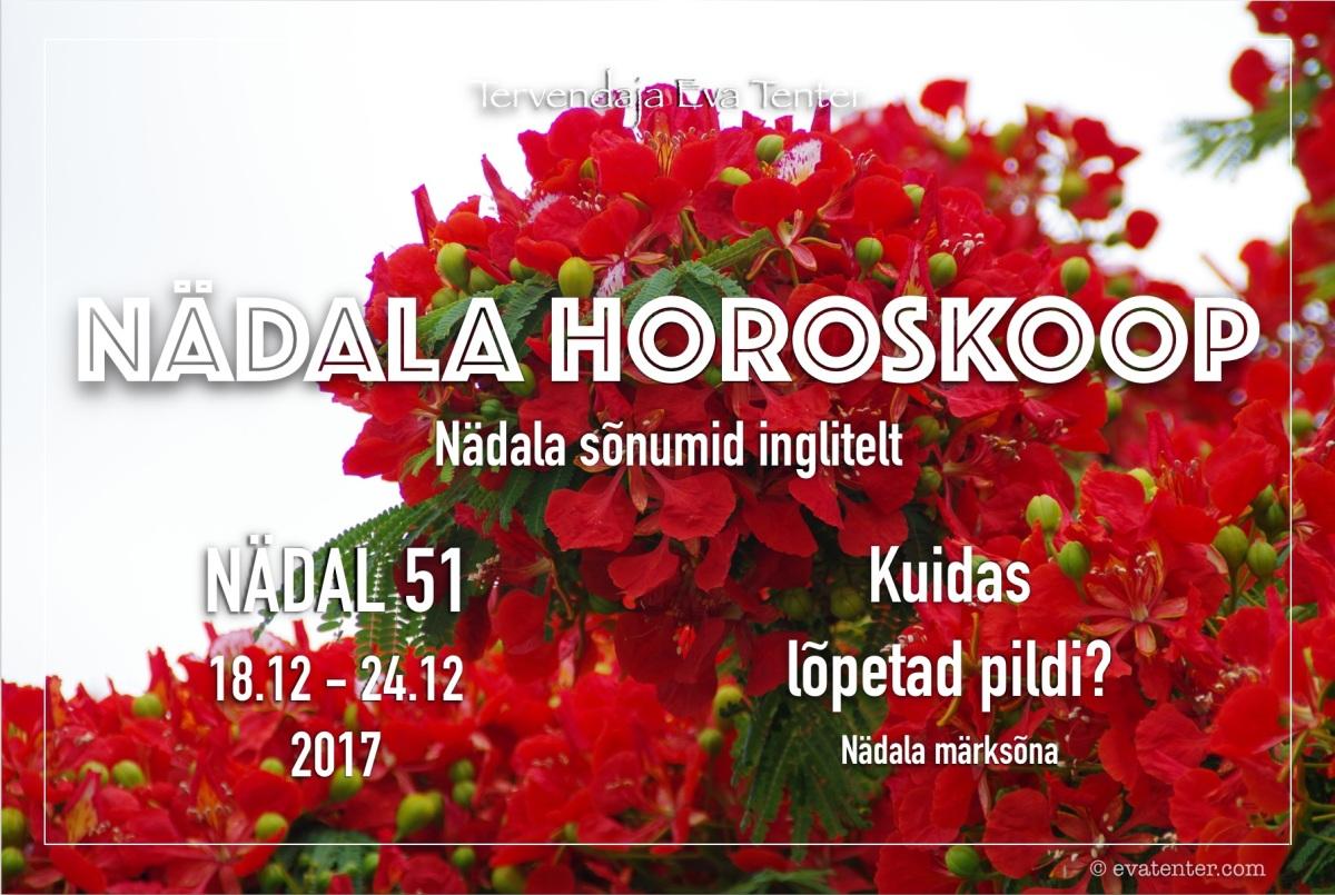 Nädala horoskoop 18.12-24.12.2017