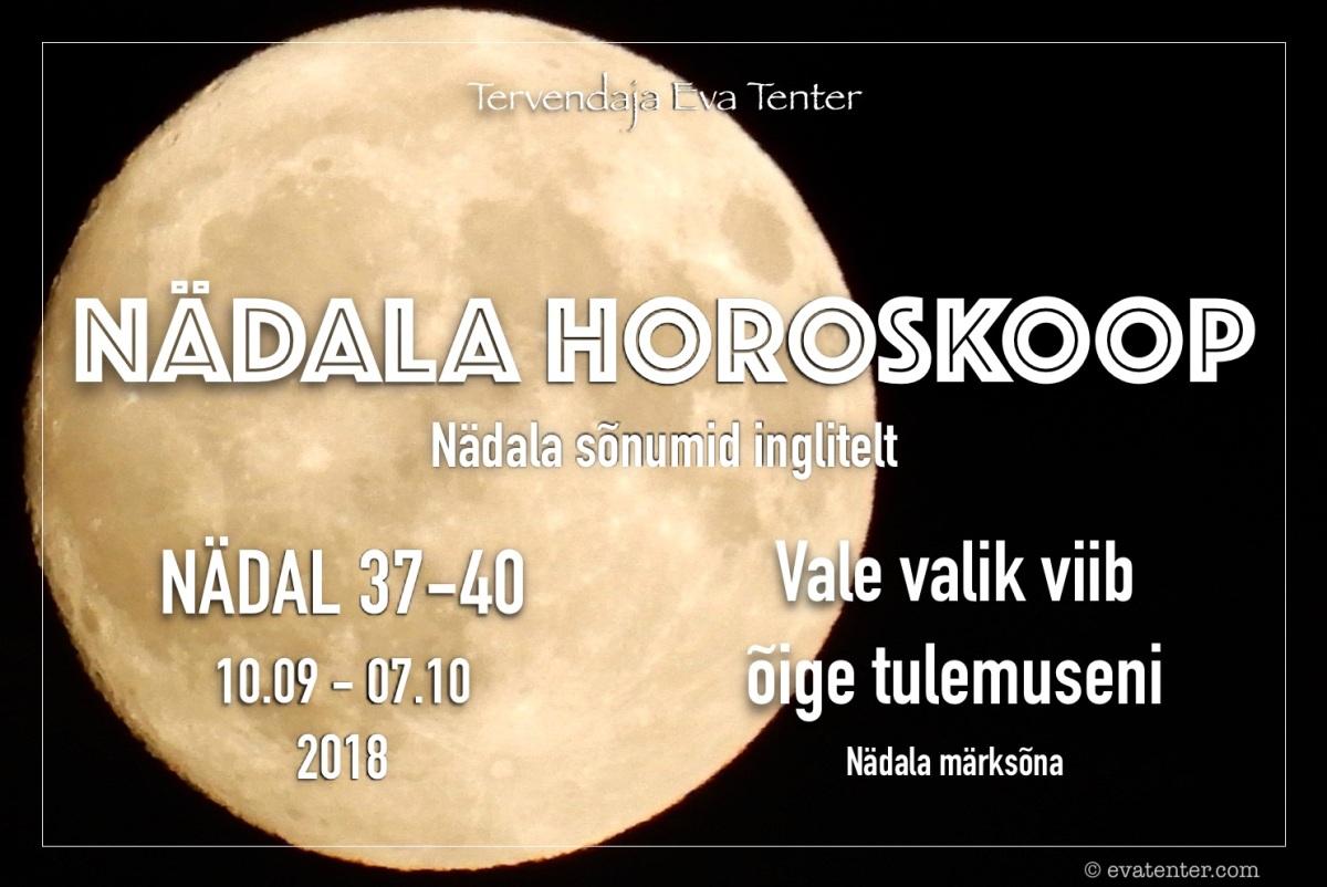 Nädala horoskoop 10.09-07.10.2018