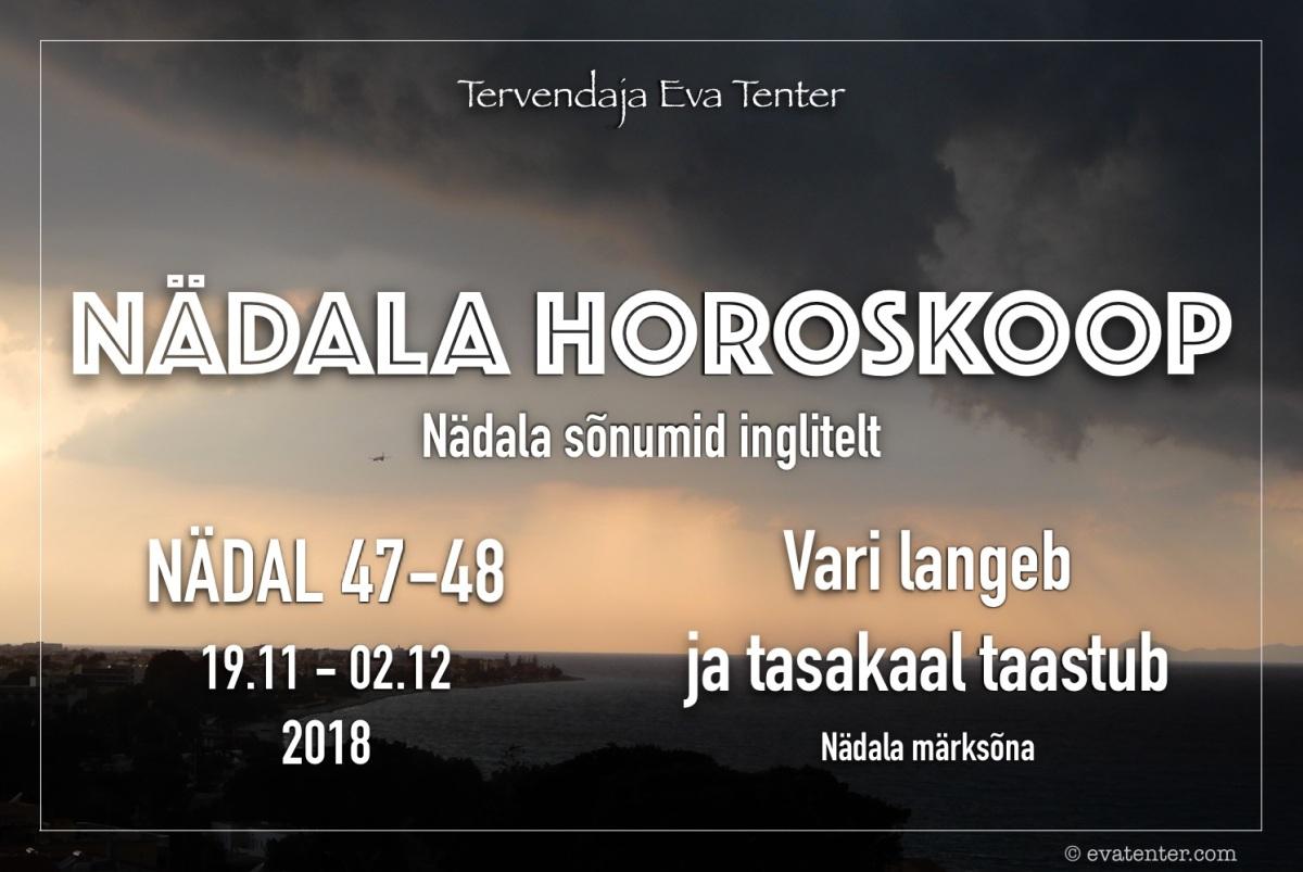 Nädala horoskoop 19.11-02.12.2018